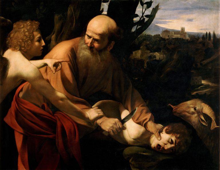 Binding of Isaac, by Caravaggio (Uffizi)